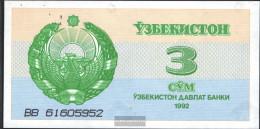 Uzbekistan Pick-number: 62a Uncirculated 1992 3 Sum - Uzbekistan