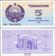 Uzbekistan Pick-number: 63a Uncirculated 1992 5 Sum - Uzbekistan