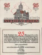 Verden Notgeld: 25 Pf Notgeldschein The City Verden Uncirculated 1921 25 Pfennig Verden - [11] Local Banknote Issues