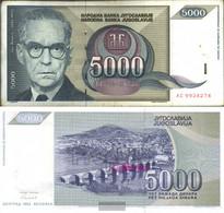 Yugoslavia Pick-number: 115 Used (III) 1992 5.000 Dinara - Yugoslavia