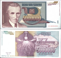 Yugoslavia Pick-number: 121 Uncirculated 1993 5 Million. Dinara - Yugoslavia