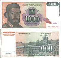Yugoslavia Pick-number: 140a Uncirculated 1994 1.000 Dinara - Yugoslavia