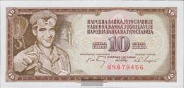 Yugoslavia Pick-number: 82a Uncirculated 1968 10 Dinara - Yugoslavia