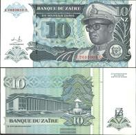 Zairean Zaire Pick-number: 55a Uncirculated 1993 10 Zaires (New) Leopard - Zaire