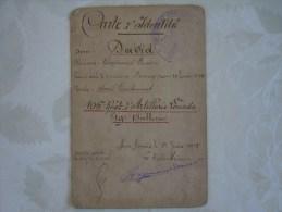 GUERRE 14/18.CARTE D�IDENTITE DE DAVID RAYMOND SOUS LIEUTENANT AU 106�me REGIMENT ARTILLERIE LOURDE.