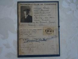 CARTE D'IDENTITE AUTOMOBILE CLUB DE CHAMPAGNE.DAVID RAYMOND.