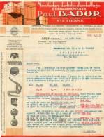 FACTURE LETTRE : ST ETIENNE . PAUL BADOR . MANUFATURE D'ARTICLES D'EMBALLAGE . 1930 . - Francia