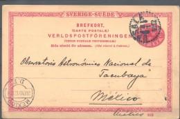 O) 1912 SWEDEN, POSTAL STATIONARY TO MEXICO, BREFKORT VERLDS POST FORENINGEN - UPU, XF - Schweden