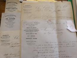 Lot 5 Lettre Manuscrit Fonderie Cuivre Broquin Chaussure Rivée Latour Lefebvre Dumenil  1867 - 1869 Forge - Manuscripts