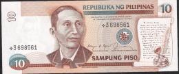 PHILIPPINES P169c 10 PISO 1985 Black Signature 12 STAR NOTE REPLACEMENT     UNC. - Filippine