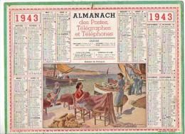 CALENDRIER GF 1943 - Femmes De Pécheurs - Imp Oller (sans Feuillet Au Dos) - Calendriers