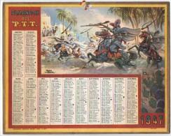CALENDRIER GF 1947 - Soldats En Afrique - Dessin De Raoul Auger - Imp Oberthur - Calendriers