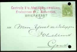 WW-1 * HANDGESCHREVEN BRIEFKAART COMITE VLUCHTELINGEN Uit 1917 Van ROTTERDAM Naar GOUDA * (9818g) - Brieven En Documenten