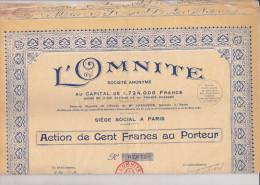 L OMNITE / ACTION DE 100 FRANCS - Actions & Titres
