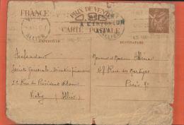 CP- Entier Postal  Sans Valeur Faciale  1940  VICHY   DAGUIN  /  Type IRIS  RETOUR A L'ENVOYEUR - Juin 2015 Lettre  12 - Entiers Postaux