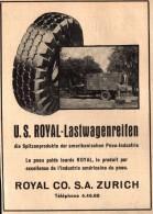 Original Werbung - 1939 - U.S. Royal Lastwagenreifen , Royal Co. In Zürich !!! - 1939-45
