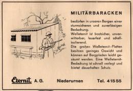 Original Werbung - 1939 - Militärbaracken , Niederurnen B. Glarus , ETERNIT AG !!! - 1939-45