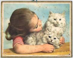 CALENDRIER GF 1958 - Enfant Et Chatons - Imprimerie Oberthur - Calendriers
