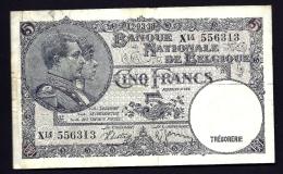 BILLET BANQUE NATIONALE DE BELGIQUE- TRESORERIE DE 5 FRANCS- 1938- PAYABLE A VUE- 2 SCANS - [ 6] Treasury