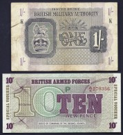 BILLET GRANDE BRETAGNE MILITARY AUTORITY- 1 SHILLING  USAGÉ + FORCES SPECIALES 10 PENCE NEUF- 2 SCANS - Military Issues