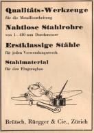 Original Werbung - 1939 - Flugzeugbau , Brütsch , Rüegger & Cie. In Zürich , Flugzeug !!! - Aviation
