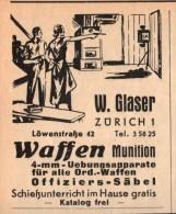 Original Werbung - 1939 - Waffen Und Munition , W. Glaser In Zürich , Offiziers-Säbel !!! - 1939-45
