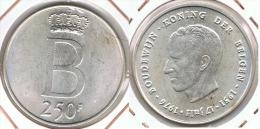 BELGICA 250 FRANCS 1976 PLATA SILVER D40 - 1951-1993: Baudouin I