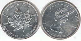 CANADA 5 DOLLARS  OUNCE 1988 PLATA SILVER D14 - Canada