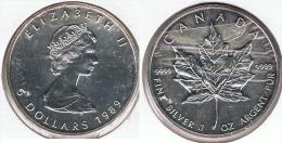 CANADA 5 DOLLARS  OUNCE 1989 PLATA SILVER D21 - Canada
