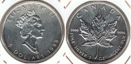 CANADA 5 DOLLARS  OUNCE 1999 PLATA SILVER D21 - Canada