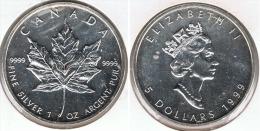 CANADA 5 DOLLARS  OUNCE 1999 PLATA SILVER D27 - Canada