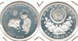 COREA 5000 WON OLIMPIADA SEOUL PEONZA  1988 PLATA SILVER D47 - Coreal Del Sur