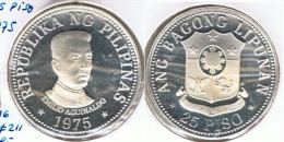 FILIPINAS 25 PISO AGUINALDO 1975 PLATA SILVER - Filipinas