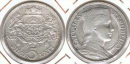 LETONIA 5 LATI 1932 PLATA SILVER D42 - Lituania