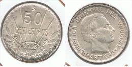 URUGUAY 50 CENTAVOS ARTIGAS 1943 PLATA SILVER D51 - Uruguay
