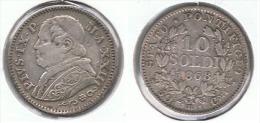 VATICANO PIO IX 10 SOLDI 1868 PLATA SILVER D49 - Vaticano (Ciudad Del)