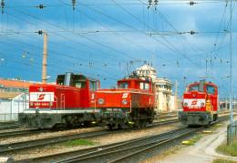 AK Eisenbahn Wien Südbahnhof Lokomotive ÖBB 2068.049 1062.012 2067.097 Favoriten Parade Vienna Österreich Verschiebe-Lok - Trains