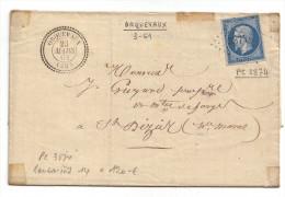 014. LSC N°14 Type1 (4Marges) - Cachet Type22 De Orquevaux (HAUTE MARNE) - 1861 - Marcophilie (Lettres)