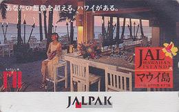 Télécarte Japon/ 110-165059 - JAL - HAWAII - Femme Girl JAPAN AIRLINES Phonecard Telefonkarte - Avion 857 - Avions