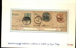 100251 GERMANIA BELGIEN OVERPRINT 5,8&10c CUT SQUARE POSTAL CARDS-MOUNTED-54 TOWN CANCELS[DCDS BRIDGE,23MM &28MM CDSs] - Stamped Stationery