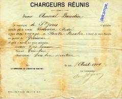 CHARGEURS  REUNIS -  STEAMER  AMIRAL  BAUDIN -  Certificat Du Capitaine De Saint - Jores - Voyage à Santa-Rosalia - 1900 - Boats