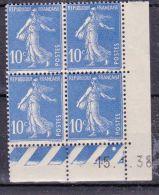 Semeuse 10 C. Outremer En Bloc De 4 Coin Daté - 1906-38 Semeuse Camée