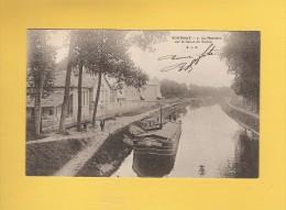 * CPA..dépt 93..GOURNAY Sur MARNE  :  La   Platrière Sur Le Canal De Vaires Avec Une Péniche..n°1   : Voir Les 2 Scans - Gournay Sur Marne