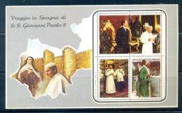 VATICAN CINDERELLA BLOCK 4v 1982 VISIT POPE JOHN PAUL II TO SPAIN * MNH - Blocks & Sheetlets & Panes