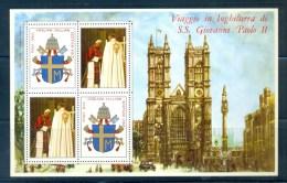 VATICAN CINDERELLA BLOCK 4v 1982 VISIT POPE JOHN PAUL II TO ENGLAND * COAT OF ARMS * MNH - Blocks & Sheetlets & Panes