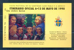 VATICAN CINDERELLA BLOCK 1v 1990 VISIT POPE JOHN PAUL II TO MEXICO * GOLDEN SERIES No 49 * COAT OF ARMS * MNH - Blocks & Sheetlets & Panes