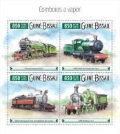 gb15524a Guinea Bissau 2015 Steam trains s/s