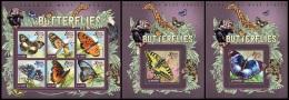 sl15004abc Sierra Leone 2015 Butterflies 3 s/s