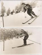 RARO  Foto Postius  4 Photos Originales 1954 Ski Slalom Géant Espana Erika Mahringer Rose Gebler Bruno Burrini B Perret - Berühmtheiten