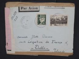 FRANCE-Enveloppe ( Avec Contenu) De Lyon  Pour Dublin En 1942 Avec  Censure à Voir P6577 - Postmark Collection (Covers)